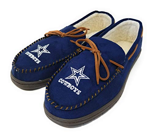 Dallas Cowboys Nfl Slipper - FOCO NFL Dallas Cowboys Men's Team Color Big Logo Moccasin Slippers, Small/7-8, Team Color