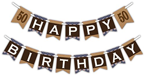 50th Milestone Happy Birthday Party Banner Decoration (Includes 23ft Ribbon)