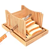 Kinwell Nature Bamboo Foldable Bread Slicer with Crumb Catcher Tray + 20 Bread Bags for Homemade Bread & Loaf Cakes, Thickness Adjustable,Thick & Thin Slices 1/3