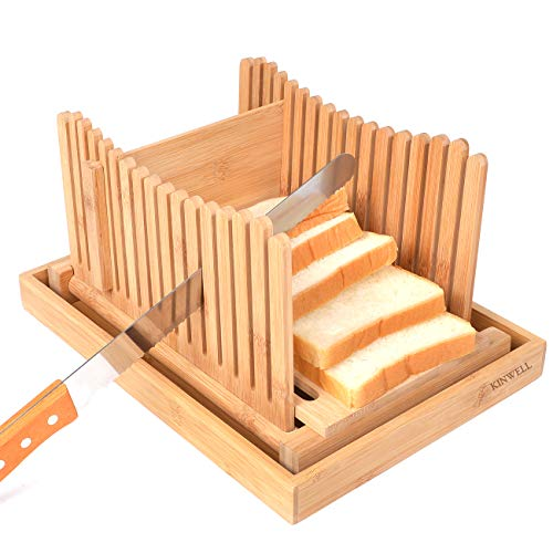 Kinwell Nature Bamboo Foldable Bread Slicer with Crumb Catcher Tray + 20 Bread Bags for Homemade Bread & Loaf Cakes, Thickness Adjustable,Thick & Thin Slices 1/3, 3/8 and 1/2(New Version)