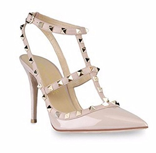 Leather Hollow apricot Party Wedding High Patent Women Casual Sexy Shoes Heel Rivet 5IqwgWZ