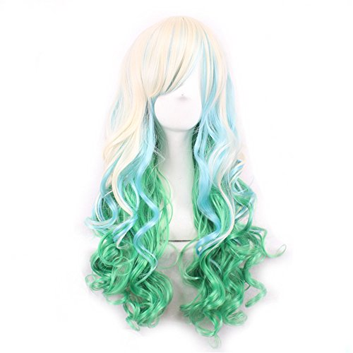 MOCOO Heat Resistant Spiral Long Wavy Harajuku Style Wig +Fashion Women Cosplay /Party Costume Wig(Lingt Blonde/ Blue/ (Curly Blue Wig)