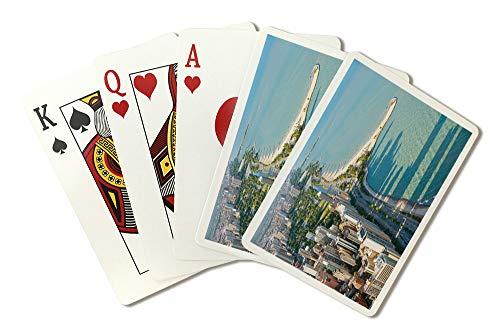 View of The Chicago from Hancock Tower Photography A-90350 (Playing Card Deck - 52 Card Poker Size with Jokers) - Hancock Tower