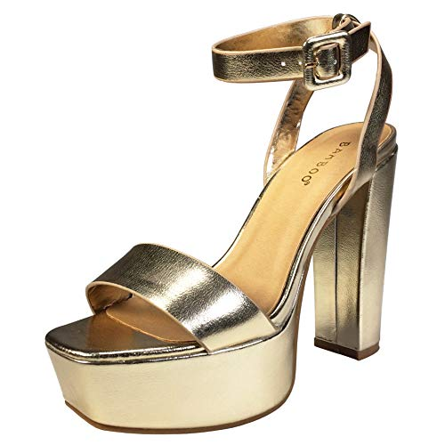 BAMBOO Women's Single Band High Platform Sandal with Ankle Strap, Gold PU, 7.5 B (M) US ()