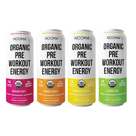 NOOMA Organic Pre-Workout | 120mg Caffeine + Adaptogens + Electrolytes | Real Ingredients, Keto, Plant-Based, Paleo | No Added Sugar, 15 Calories | 12 oz (Pack of 12) (Variety)