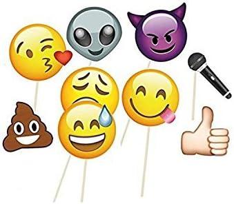 Weddecor 9 Stück Emoji Gesichter Fotostand Requisiten Für Fotografie Und Verschiedene Emoji Designs Groß Enough Zum Abdecken Das Gesicht Perfekt Für Hochzeiten Und Partys 8pcs Küche Haushalt