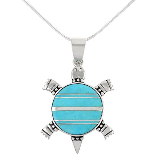 Turquoise Pendant Necklace in Sterling Silver (SELECT from different styles) (Turquoise Turtle)