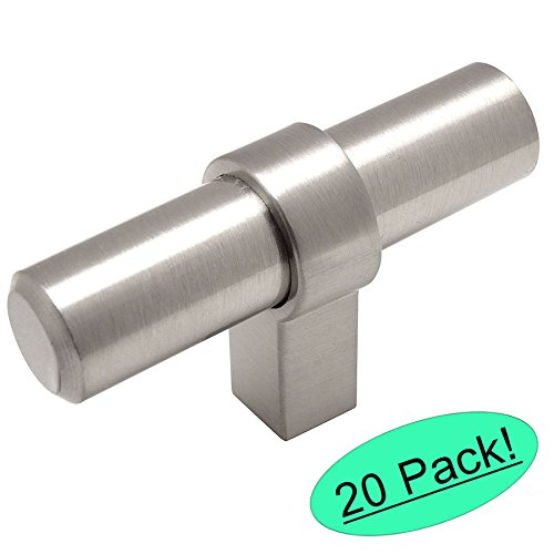 Contemporary Nickel Knobs (Cosmas 181SN Satin Nickel Contemporary Bar Cabinet Handle Pull T-Knob - 2-3/8