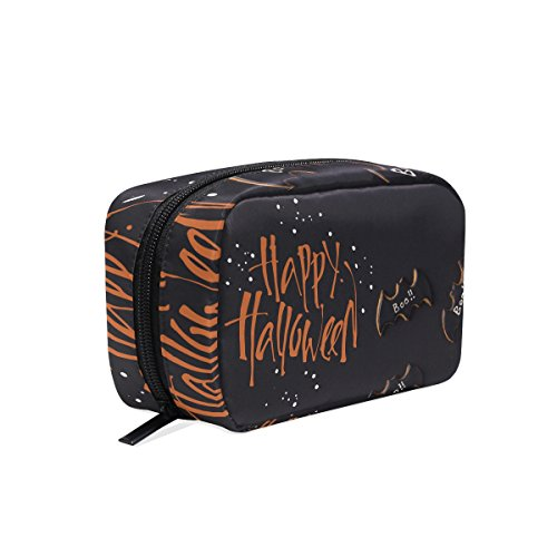 (MAPOLO Halloween Bat Cookies Handy Cosmetic Pouch Clutch Makeup Bag Organizer Travel)