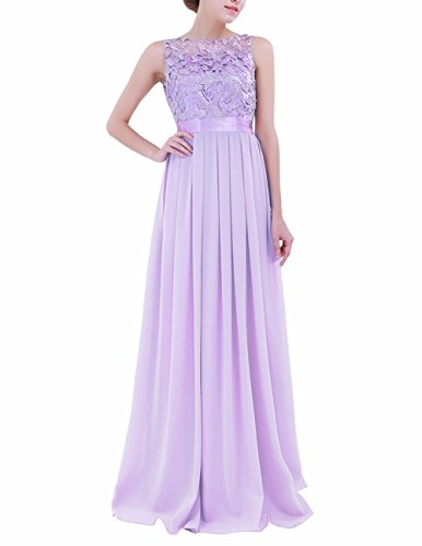 FEESHOW Women's Floral Lace Appliques Chiffon Wedding Bridesmaid Long Dress Prom Evening Gowns Lavender 6