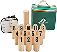 ApudArmis Wooden Pin & Skittle Games, Scatter Numbered Block Toss Games Set with Scoreboard & Carrying
