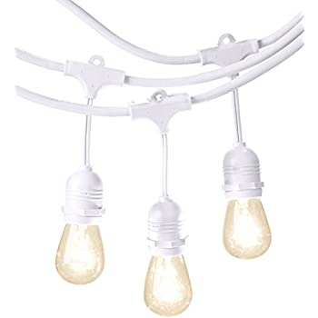 AmazonBasics Weatherproof Outdoor Patio String Lights S14 Bulb, White, 48'
