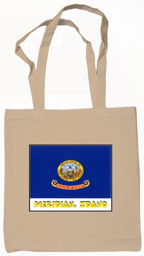 (Meridian Idaho Souvenir Canvas Tote Bag Natural)