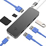 CharJenPro Updated 2019 Version USB C Hub for MacBook Pro 2019-2016, iPad Pro 2018-2019, MacBook Air 2019-2018, Surface Go, Samsung Galaxy, USB C Hub HDMI 4K, 3 USB 3.0, microSD, SD, PD, USB-C Hub