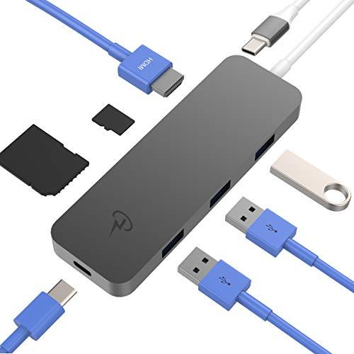 CharJenPro USB C Hub, 7-in-1 USB-C Hub with HDMI 4K, SD, MicroSD, 3 USB 3.0, USBC PD for MacBook Pro 2019/2018-2016, iPad Pro 2019/2018 (Type C Hub, USBC Hub, USB Type C Hub, USB C Hub HDMI) (Best Usb C Hub)