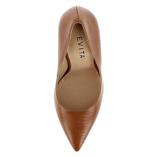 Verni Lisa Cuir Imprimé Femme Evita Marron Escarpins Shoes CBX6qnxwH