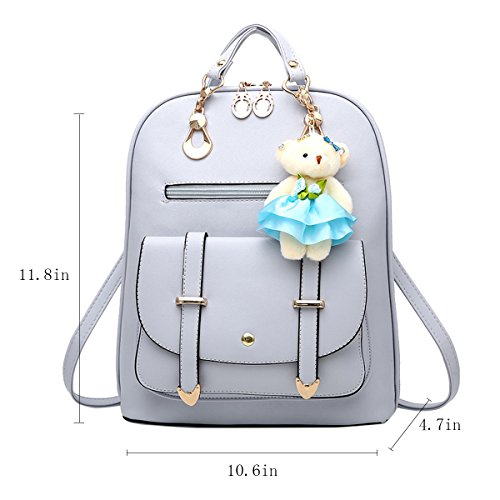 Cute Leather Travel ABage Backpack Backpack Grey Women's Faux Light School Purse Convertible qtUYwt