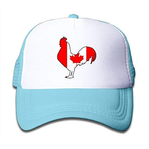 (ISEAREX Youth Boy and Girls Baseball Caps,Canada Flag Rooster Mesh Hat Summer Trucker Cap SkyBlue)