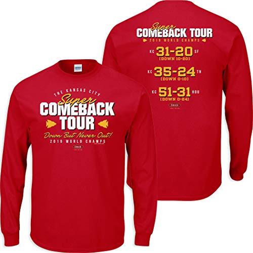 Smack Apparel Kansas City Football Fans. Super Comeback Tour Red T-Shirt (Sm-5X) (Long Sleeve, Medium)