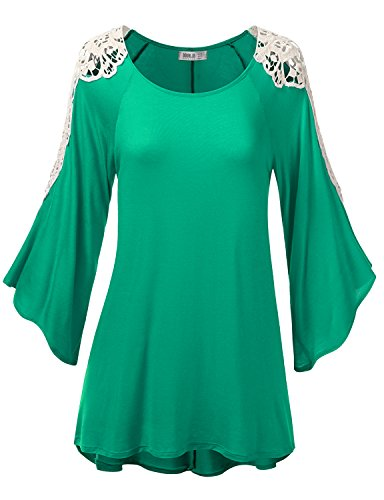 SJSP Womens Long Sleeve Shoulder Lace Point Tunic Top Kellygreen XL
