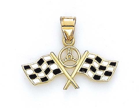 - 14k Yellow Gold Enamel Racing Flag Pendant