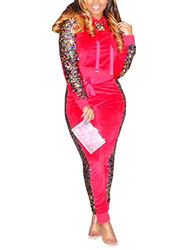 (Women Casual Sequin Tracksuit Set Long Sleeve Hooded Sweatshirt and Sweatpants Suit 2 Piece Joggers Outfits Red X-Large)