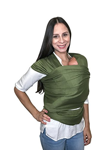 Baby Shower Gift – Hands Free Baby Wrap Carrier Breathable Soft & Stretchy Baby Carrier, Ergonomic, Safe & Secure for Newborns, Babies & Infants, No Back Pain, Perfect for Breastfeeding (Olive) For Sale
