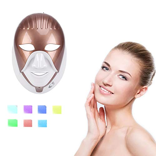 Facial Rejuvenation Skin Mask, 7 Colors LED Masks Face Treatment Neck Skin Tightening Anti-wrinkle Whitening Beauty Machine Home Wireless Touch (Color : Gold)