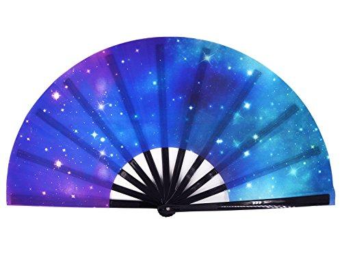Amajiji Large Galaxy Folding Fan, Chinease/Japanese Folding Nylon-Cloth Hand Fan, Hand Folding Fans for Women/Men, Hand Fan Festival Gift Fan Craft Fan Folding Fan Dance Fan (AM6)