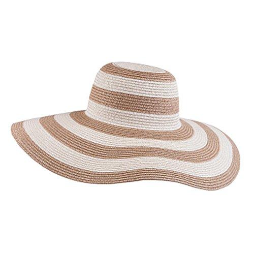 Itopfox Women's Beachwear Sun Hat Striped Straw Hat Floppy Big Brim Hat KK