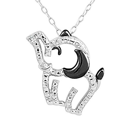 Black Diamond Elephant (Sterling Silver Rhodium and Black Plated Diamond Accent Elephant Pendant Necklace, 18