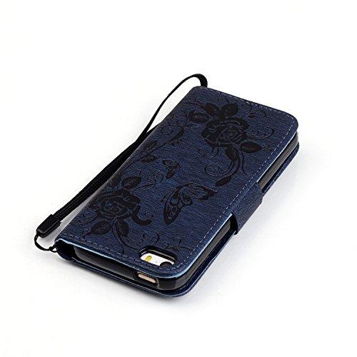 iPhone 6S Plus Hülle Blumen,iPhone 6 Plus Hülle Leder,iPhone 6S Plus Case,Leder Handy Tasche Wallet Case Flip Cover Etui für iPhone 6S Plus,EMAXELERS Elegant Pure Papillon Blumen Muster Design Schutzh