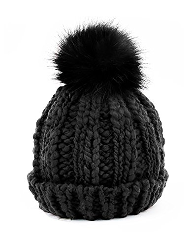 Accent Pom Pom Knit - Urbanista Women's Soft Cable Knit Basic Beanie with Faux Fur Pompom Accent, Charcoal