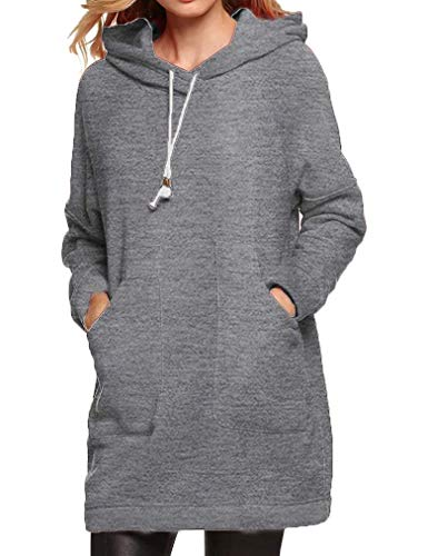 Qearl Women Autumn Loose Warm Pocket Pullover Hoodie Tunic Sweatshirt(XL, Gray)