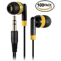 Keewonda Kids Earbuds Bulk Earbuds - 100 Pack Childrens Ear Buds Earphones School Classroom Student Headphones for Teen Girls Boys - Black/Yellow