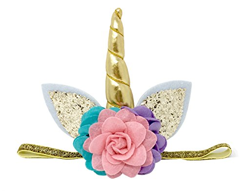 Posh Peanut Unicorn Childrens Party Hat Horn Glitter Elastic Headband Spiral Unicorn Horn Photo Props Cosplay (Pink, Purple, Teal