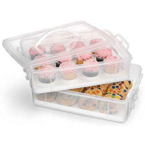 UPC 784672691963, White 2-layer Cupcake and Cookie Carrier