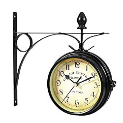 LNYJ Vintage Double Sided Wall Clock Iron Metal Silent Quiet Grand Central Station Wall Clock Art Clock Decorative Double Faced Wall Clock 360 Degree Rotate Antique Wall Clock (Dark Brown Color)
