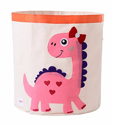 HIYAGON Storage Bin,Cube Hamper Box for Kids Toys Animal Theme Decor Perfect for Baby Nursery (Pink Dinosaur)