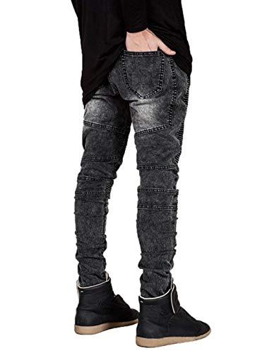 Slim Lavati Pantaloni Marca Uomo Jeans Da Grau Casual In Motociclista Vintage Denim Pieghe Mode Fit Di Strappati A Stretch x776qzrYn