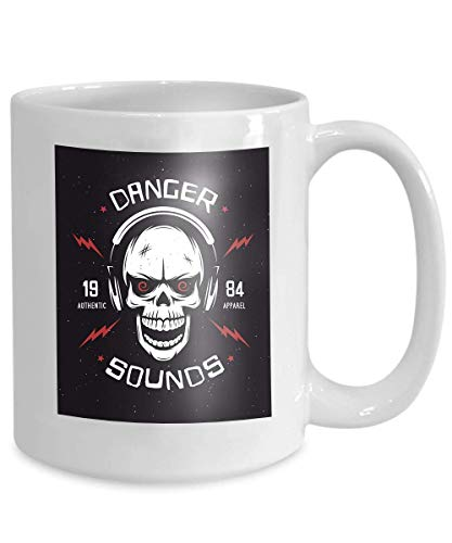 (mug coffee tea cup vintage rock music related danger sounds authentic apparel monochrome skull 110z)