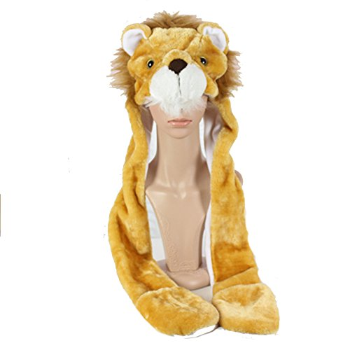 Lion King Children's Costumes (Funnie 21 Novelty Animal HAT Cosplay CAP - Unisex Fit Adult & Children- Soft Warm Headwraps Headwear with Mittens (The Lion King))