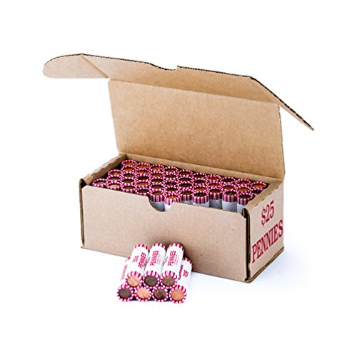 Penny Storage Box Red Holds 50 Wrapped Coin Rolls, 10 boxes