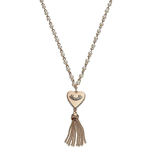 Juicy Couture Long Simulated Pearl Heart Tassel Necklace
