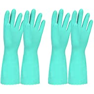 Elgood Household Gloves,Latex Free Vinyl Cotton Lining Non- Slip Swirl Grip Gloves for Kithen Dishwashing Laundry Cleaning 2 Pairs (Blue, M)