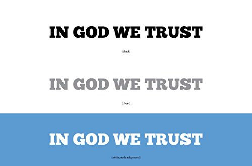 Jeep Offroad Truck And Car Single Decal  In God We Trust    3 Colors  Silver