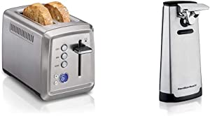 Hamilton Beach 22796 Toaster with Bagel & Defrost Settings, Toast Boost, 2 Slice & Automatic Can Opener, Electric, with Easy-Clean Detachable Cutting Lever, Knife Sharpener, Cord Storage