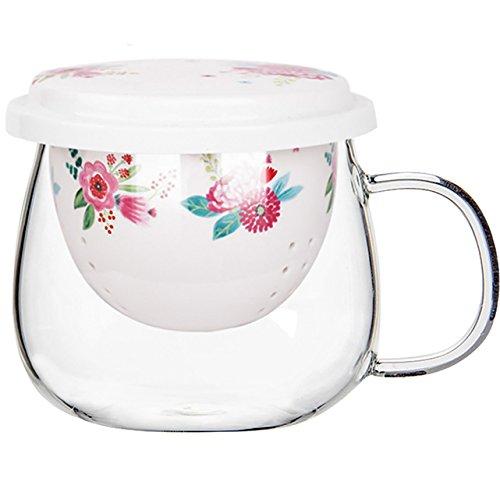 CEDAR HOME Porcelain Tea Cup Set Ceramic Travel Mug Brewing System with Infuser and Lid 10oz, Rose Red