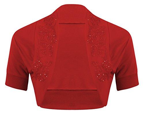 Embellished Bolero - New Womens Ladies Short Sleeve Beaded Embellished Open Bolero Cardigan Shrug Top - RED - UK12/14(M/L) - (100% Cotton)