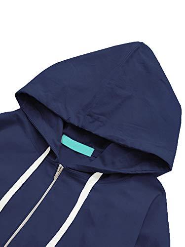 Romwe Women's Lightweight Kangaroo Pocket Anorak Sports Jacket Drawstring Hooded Zip up Windproof Windbreaker Navy S by Romwe (Image #2)